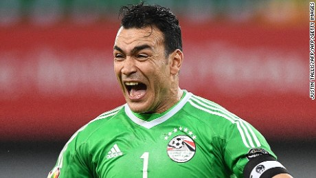 Egypt's goalkeeper Essam El-Hadary celebrates at the end of the 2017 Africa Cup of Nations group D football match between Egypt and Ghana in Port-Gentil on January 25, 2017. / AFP / Justin TALLIS        (Photo credit should read JUSTIN TALLIS/AFP/Getty Images)