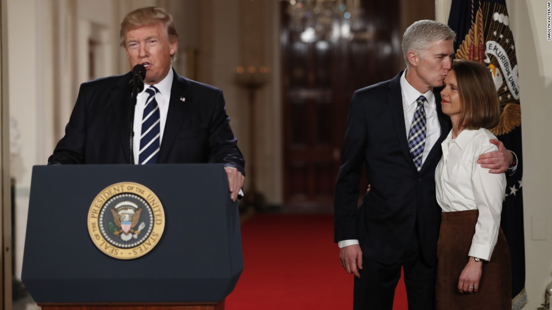 "US President Donald Trump speaks in the East Room of the White House as he announces Neil Gorsuch <a href=""http://www.cnn.com/2017/01/31/politics/donald-trump-supreme-court-nominee/"" target=""_blank"">as his Supreme Court nominee</a> on Tuesday, January 31. Gorsuch -- at right with his wife, Louise -- would replace Justice Antonin Scalia, who died last year. <a href=""http://www.cnn.com/2017/01/31/politics/neil-gorsuch-antonin-scalia/index.html"" target=""_blank"">Read more: Who is Neil Gorsuch?</a>"