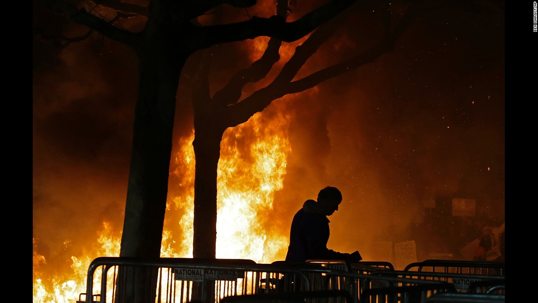 "A bonfire burns on the campus of the University of California-Berkeley on Wednesday, February 1. <a href=""http://www.cnn.com/2017/02/01/us/milo-yiannopoulos-berkeley/"" target=""_blank"">Protests turned violent</a> ahead of a planned speech by right-wing commentator Milo Yiannopoulos, an outspoken editor for Breitbart News. The university blamed ""150 masked agitators"" for the unrest, saying they had come to campus to disturb an otherwise peaceful protest. Yiannopoulos' speech was canceled."