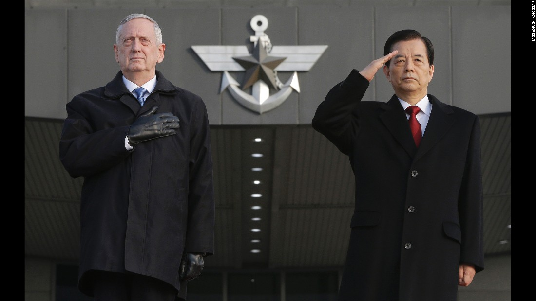 "US Defense Secretary James Mattis, left, and South Korean Defense Minister Han Min-goo attend a welcome ceremony for Mattis in Seoul, South Korea, on Friday, February 3. Mattis <a href=""http://www.cnn.com/2017/01/30/politics/japan-james-mattis-visit/"" target=""_blank"">will also be visiting Japan</a> as part of his first trip as secretary."