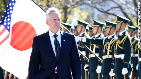 US Defence Secretary Jim Mattis reviews an honor guard during a welcoming ceremony at the Defence Ministry in Tokyo on February 4, 2017. / AFP / TORU YAMANAKA        (Photo credit should read TORU YAMANAKA/AFP/Getty Images)