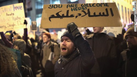 Several hundred demonstrators protest President Donald Trump's executive order which imposes a freeze on admitting refugees into the United States and a ban on travel from seven Muslim-majority countries at the international terminal at O'Hare Airport on February 1, 2017 in Chicago, Illinois. T