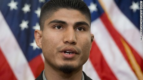 World Boxing Organization (WBO) Junior Lightweight Champion Mikey Garcia speaks during a press conference by professional boxing and fighting organizations as they pledge $600,000 in support of the Professional Fighters Brain Health Study by the Cleveland Clinic, at the US Capitol in Washington, DC, February 4, 2014. The study, by the Cleveland Clinic Lou Ruvo Center for Brain Health in Las Vegas, develops methods to detect early and subtle signs of brain injury and chronic neurological disorders. AFP PHOTO / Saul LOEB        (Photo credit should read SAUL LOEB/AFP/Getty Images)