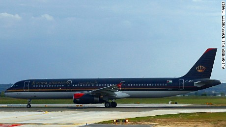A Royal Jordanian Airlines aircraft in Paris in 2012. The airline also has referred to Donald Trump in past tweets.