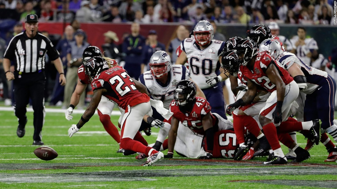 Alford recovers a second-quarter fumble by Blount. The turnover led to Freeman's touchdown.