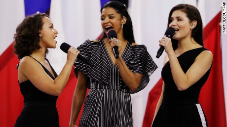 "Original ""Hamilton"" Schuyler sisters Phillipa Soo, Rene Elise Goldsberry, and Jasmine Cephas Jones, sing ""America the Beautiful"" at Super Bowl LI."