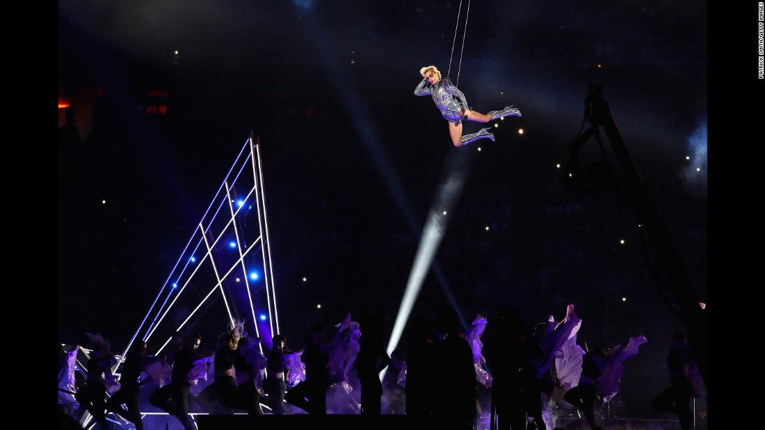 Gaga hangs in the air during her performance.