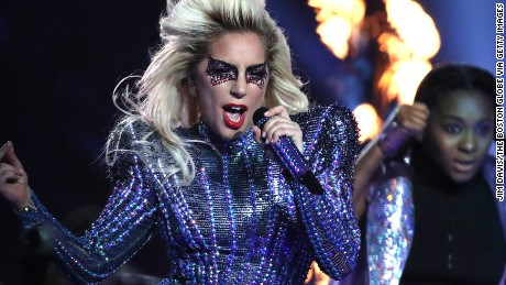 HOUSTON - FEBRUARY 5: Lady Gaga performs at halftime at NRG Stadium in the Super Bowl. The Atlanta Falcons play the New England Patriots in Super Bowl LI at NRG Stadium in Houston on Feb. 5, 2017. (Photo by Jim Davis/The Boston Globe via Getty Images)