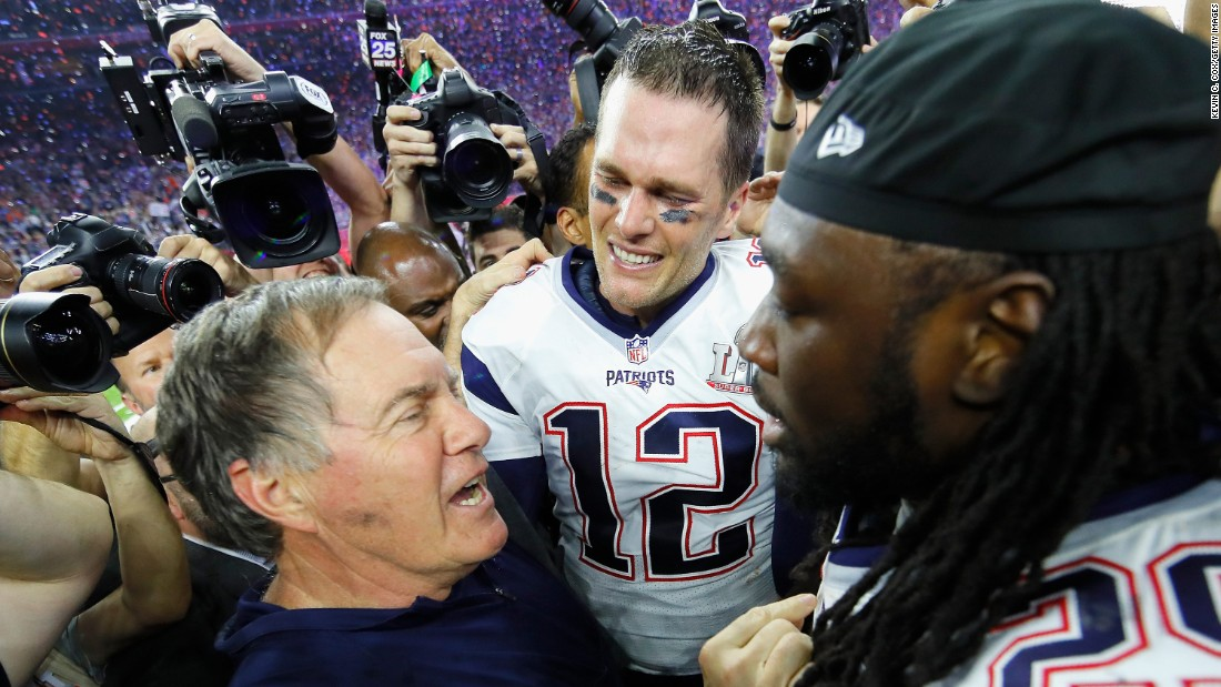 "Patriots head coach Bill Belichick, left, talks to running back LeGarrette Blount as Brady looks on. Belichick has now won more Super Bowls (five) than any other head coach in NFL history. He also won two rings as an assistant coach with the New York Giants. <a href=""http://www.cnn.com/2015/01/25/us/gallery/super-bowl-superlatives/index.html"" target=""_blank"">See more Super Bowl records</a>"