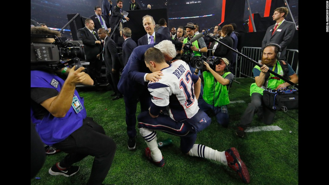 "Brady celebrates with Patriots owner Robert Kraft after the game. Brady was named the game's Most Valuable Player. He has won five Super Bowls in his career -- one more than any other starting quarterback in history -- and he's also won the MVP award a record four times. <a href=""http://www.cnn.com/2015/01/25/us/gallery/super-bowl-mvps/index.html"" target=""_blank"">Photos: Super Bowl MVPs</a>"