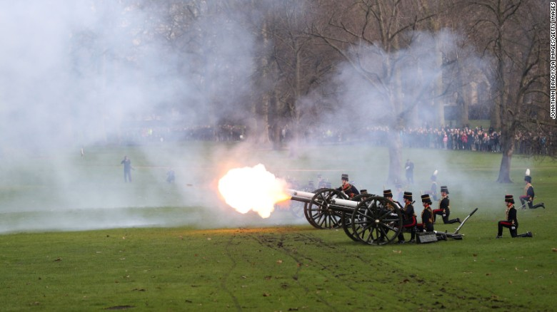 A 41-gun salute is staged in Green Park, London to mark the Queen's Sapphire Jubilee.