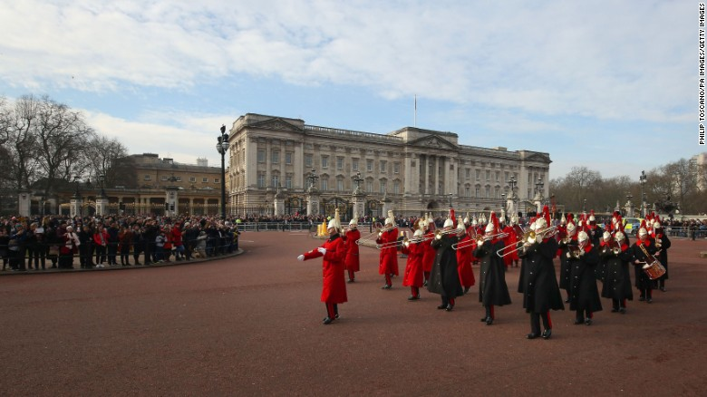 The band of the Household Cavalry plays outside Buckingham Palace on February 6.
