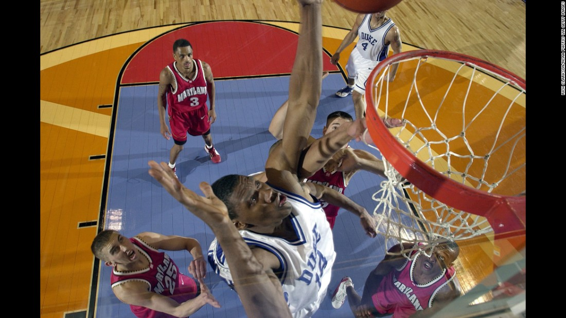 In the 2001 Final Four, the Maryland Terrapins quickly jumped in front, taking a 22-point lead with about seven minutes left in the first half. Duke looked done for, but the Blue Devils -- led by Nate James (pictured), Jay Williams and Shane Battier -- scrapped their way back, trouncing the Terrapins 57-35 in the second half to earn their ticket to the final, which they won.