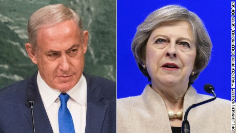 British Prime Minister Theresa May (right) is expected to tell Israel's Benjamin Netanyahu that West Bank settlements undermine the Middle East peace process.