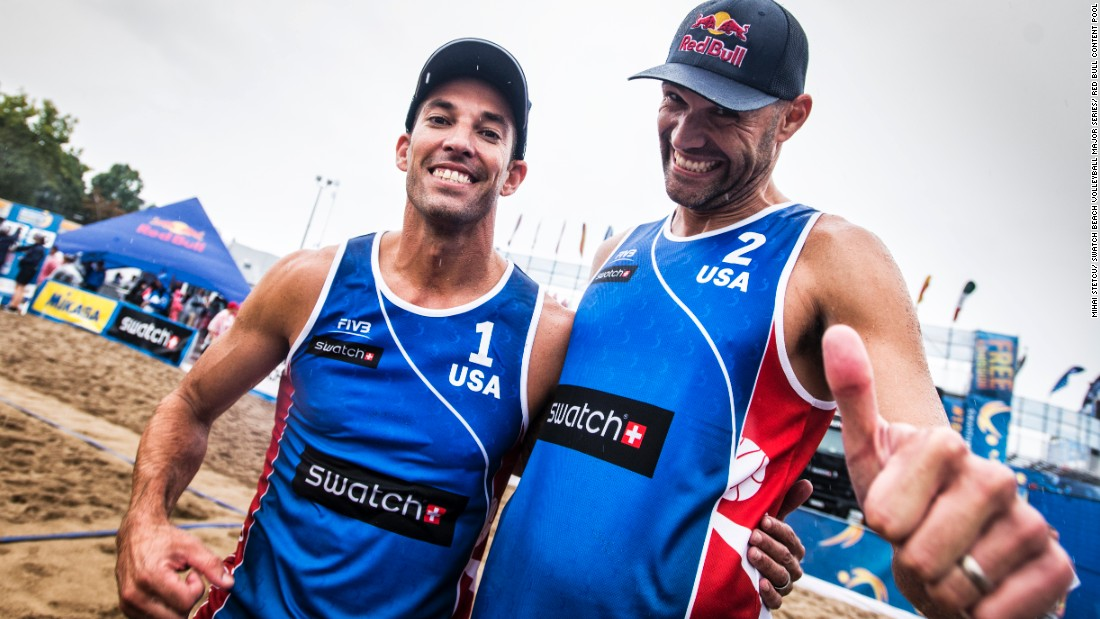 "Dalhausser is pictured with playing partner Nick Lucena on last year's Tour. They've been a team since 2015, but have known each other much longer. ""We actually met in 2000 or 2001,"" says Dalhausser. ""We're both from Florida and we played the amateur beach volleyball tournaments down there in our early 20s. So we have a little bit of history and we stayed friends throughout those years."""