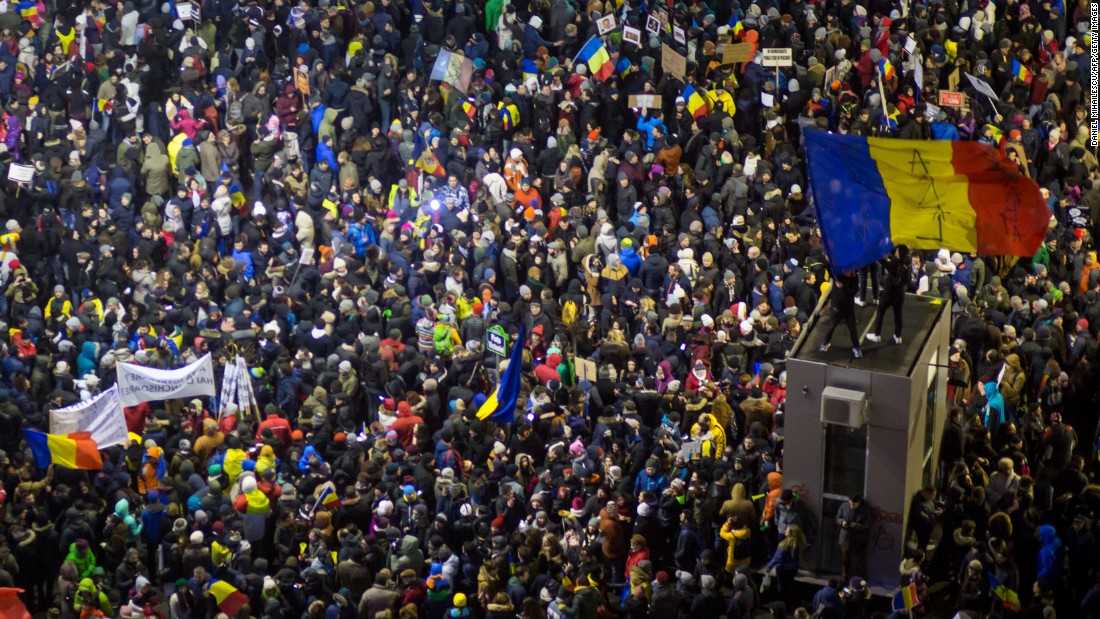 "On Sunday, February 5, <a href=""http://edition.cnn.com/2017/02/05/europe/romania-protests-corruption/index.html"">Romanians turned out for a sixth straight day</a> to demonstrate against a new law passed last week that would decriminalize corruption. Amid the protests Sunday night, the decree was officially repealed in a government statement following an emergency meeting of Prime Minister Sorin Grindeanu's Cabinet."