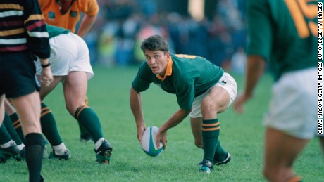 Joost van der Westhuizen of South Africa passes the ball during a pool stage match against Australia in the Rugby World Cup at Newlands, Cape Town, South Africa, 25th May 1995. South Africa won the match 27-18. (Photo by Clive Mason/Getty Images)