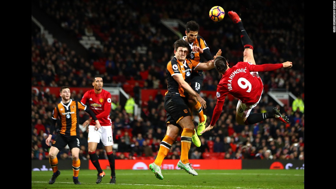 Manchester United striker Zlatan Ibrahimovic performs an acrobatic kick against Hull City during a Premier League match in Manchester, England, on Wednesday, February 1.