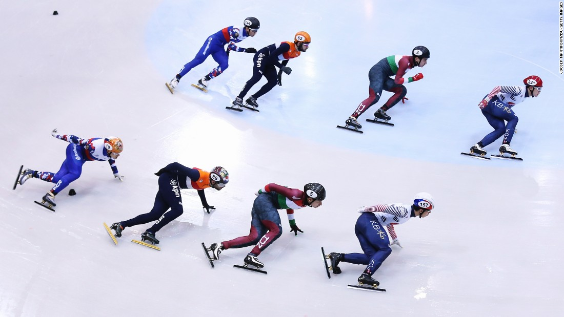 Short-track speed skaters compete in a World Cup relay in Dresden, Germany, on Sunday, February 5.