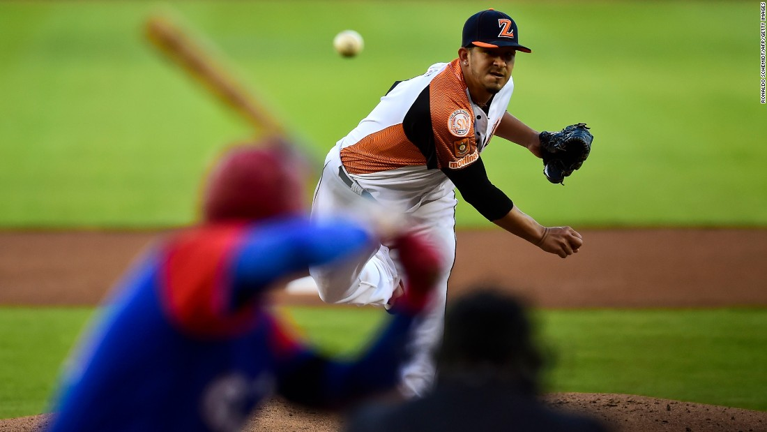 Wilfredo Boscan, who plays for Venezuelan baseball team Aguilas del Zulia, pitches against Cuba's Alazanes de Granma during the Caribbean Series on Saturday, February 4. The tournament is taking place in Culiacan, Mexico.