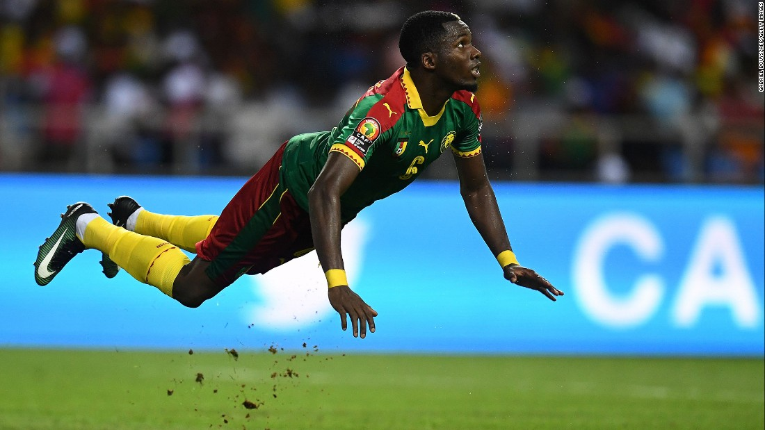 "Cameroon defender Ambroise Oyongo goes airborne during the final of the Africa Cup of Nations on Sunday, February 5. Cameroon, playing the tournament without most of its star players, <a href=""http://www.cnn.com/2017/02/05/football/afcon-2017-final-egypt-cameroon/"" target=""_blank"">won the final 2-1 over Egypt.</a> It is Cameroon's fifth AFCON title."