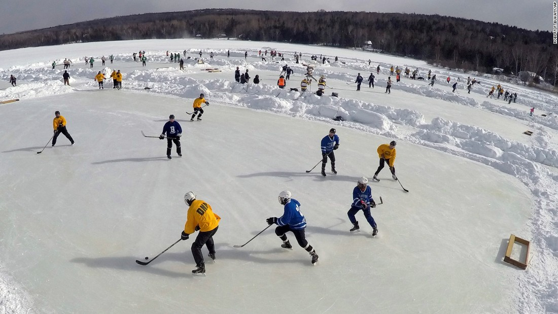 Several games take place during the New England Pond Hockey Festival, which was held in Rangeley, Maine, this past weekend.