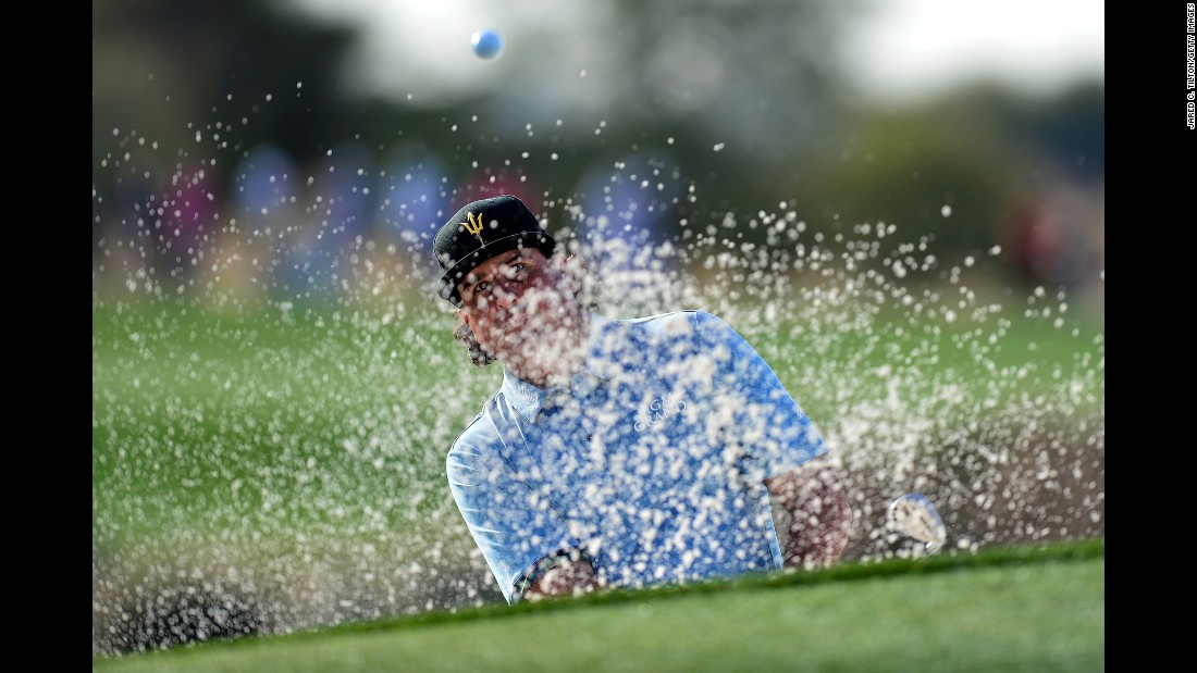 Pat Perez plays a shot out of the sand during the first round of the Phoenix Open on Thursday, February 2.