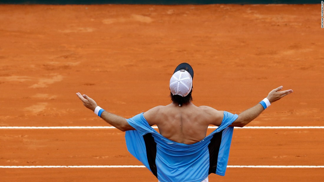 Argentina's Carlos Berlocq celebrates after a Davis Cup doubles victory against Italy on Saturday, February 4.