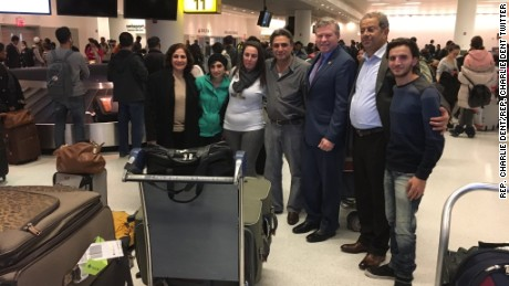 Six members of a Syrian family were reunited at John F. Kennedy airport in New York after they were denied entry to the United States on Jan. 28.