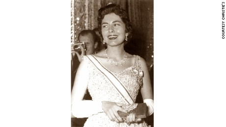 Princess Soraya wearing a diamond necklace signed Harry Winston. The necklace went to auction at Christie's in Geneva on Nov. 17, 1988.
