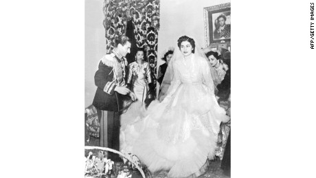 The Shah of Iran Mohammed Reza Pahlavi with Soraya Esfandiary Bakhtiari on their wedding day in Tehran in 1951.