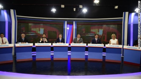 General view of a televised debate of presidential candidates in Quito, February 5, 2017. / AFP / RODRIGO BUENDIA        (Photo credit should read RODRIGO BUENDIA/AFP/Getty Images)
