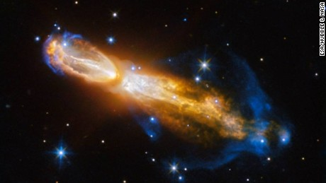 The Calabash Nebula, also has the technical name OH 231.8+04.2. This image captures the transformation from a red giant to a planetary nebula.