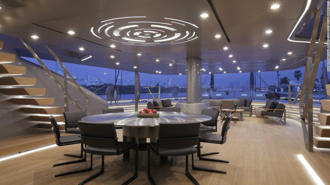 "Sybaris also won awards for its layout and design. ""The table is a titanium modern version of a rose unfolding,"" owner Bill Duker told CNN Sport at the Monaco Yacht Show."