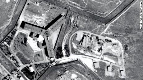 A satellite image of Syria's Saydnaya prison