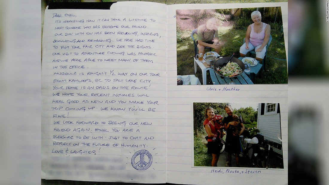 <strong>Guest book:</strong> MacDonald keeps photos and notes from all her guests and hosts. She says she's met close to 400 fellow travelers at home and abroad.