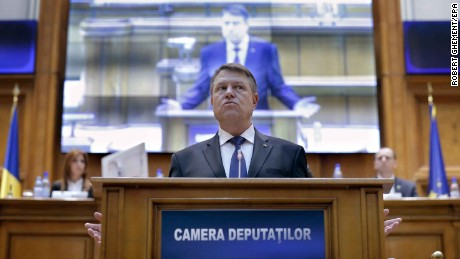 Romanian President Klaus Iohannis condemned the government during his speech in parliament.