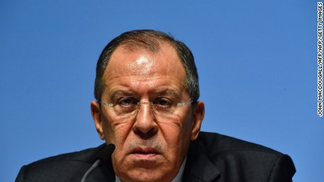 TOPSHOT - Russia's Foreign Minister Sergei Lavrov addresses a press conference during the foreign ministers' meeting of the Organisation for Security and Cooperation in Europe (OSCE) in Hamburg, northern Germany, on December 9, 2016. The meeting is set to be dominated by the Syria conflict. / AFP / John MACDOUGALL        (Photo credit should read JOHN MACDOUGALL/AFP/Getty Images)