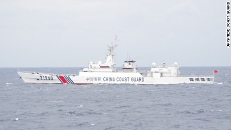 A Chinese Coast Guard ship in waters near a chain of islands claimed by both China and Japan in the East China Sea.