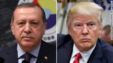 Turkish President Recep Tayyip Erdogan, left, and US President Donald Trump.