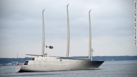 CORRECTION - The luxury sail-assisted motor yacht 'Sailing Yacht A' passes Elsinore, North Sealand, Denmark, on February 6, 2017. The yacht, owned by Russian tycoon Andrey Melnichenko, was build in Kiel, Germany and is now passing through Denmark on its way to Kristiansand in Norway. / AFP / Scanpix Denmark / Keld Navntoft / Denmark OUT / The erroneous mention appearing in the metadata of this photo by Keld Navntoft has been modified in AFP systems in the following manner: [sail-assisted motor yacht 'Sailing Yacht A'] instead of [motor yacht 'M/Y A']. Please immediately remove the erroneous mention from all your online services and delete it from your servers. If you have been authorized by AFP to distribute it  to third parties, please ensure that the same actions are carried out by them. Failure to promptly comply with these instructions will entail liability on your part for any continued or post notification usage. Therefore we thank you very much for all your attention and prompt action. We are sorry for the inconvenience this notification may cause and remain at your disposal for any further information you may require.        (Photo credit should read KELD NAVNTOFT/AFP/Getty Images)