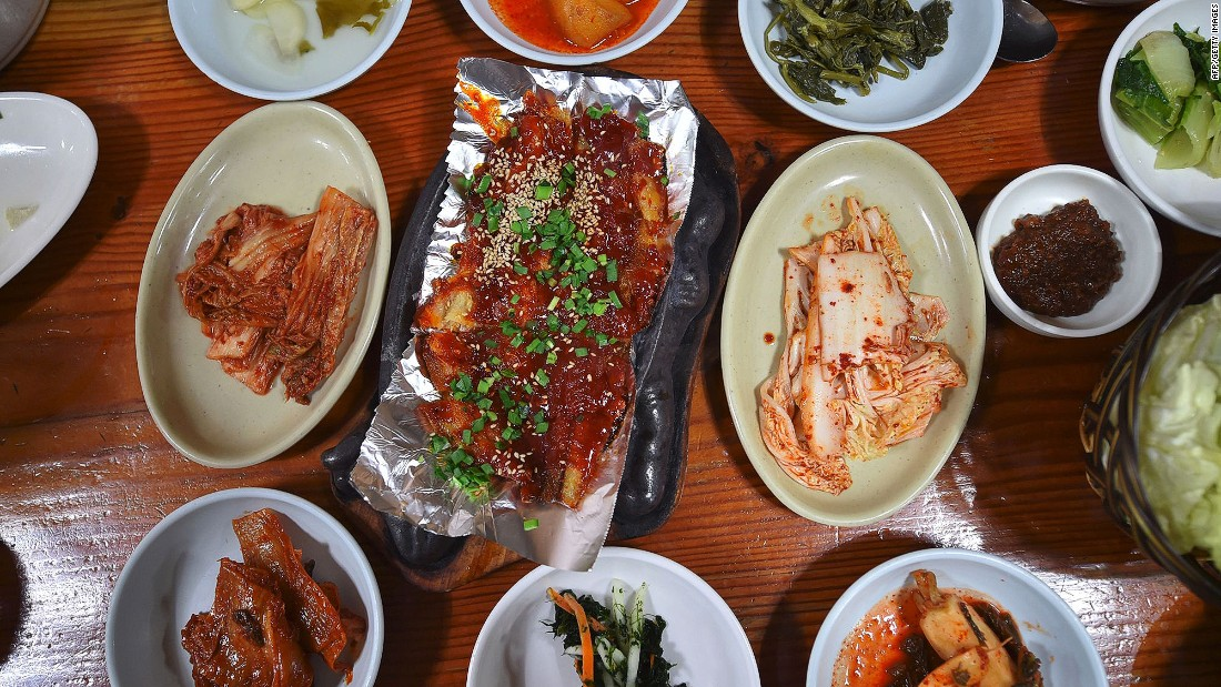 <strong>On the menu:</strong> Roast dried pollock and plenty of side dishes at a restaurant in Hoenggye town, near the venue for the opening and closing ceremonies for the upcoming Pyeongchang 2018 Winter Olympic Games.