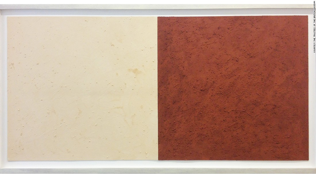 Karel Nel collected the white ochre on the left hand side of this painting, called 'Potent Fields', from Nelson Mandela's ancestral lands in the Eastern Cape. The juxtaposition of the different colors is said to echo the color divide of apartheid.