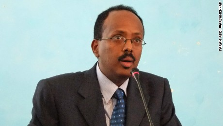 FILE - In this Monday, Nov. 1, 2010 file photo, then Somali Prime Minister Mohamed Abdullahi Farmajo addresses officials after his swearing in ceremony at the Presidential residence in Mogadishu, Somalia. Somalia's groundbreaking presidential election moved into a second round Wednesday, Feb. 8, 2017 with incumbent President Hassan Sheikh Mohamud holding a slight lead over former prime minister Mohamed Abdullahi Farmajo. (AP Photo/Farah Abdi Warsameh, File)