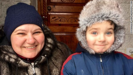 Five-year-old Avdiivka resident Gleb Huskov says when shelling starts, he hides and prays.