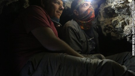 Dr. Oren Gutfeld and Ahiad Ovadia survey the cave.