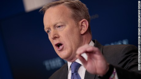 WASHINGTON, DC - JANUARY 30: White House Press Secretary Sean Spicer answers questions during the daily press briefing at the White House, January 30, 2017 in Washington, DC. U.S. President Donald Trump announced Monday that he will reveal his 'unbelievably highly respected' pick to replace the late Supreme Court Antonin Scalia on Tuesday evening. (Photo by Drew Angerer/Getty Images)