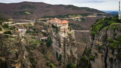 The monasteries' precarious location helped protect the monks from invaders.