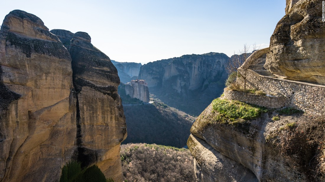 <strong>Fancy a walk on this cliff?: </strong>Years ago the only access to the monasteries was by a rope and pulley system, or by free-climbing the cliffs. In the 1920s stairs were constructed, allowing safer travel for monks and visitors.