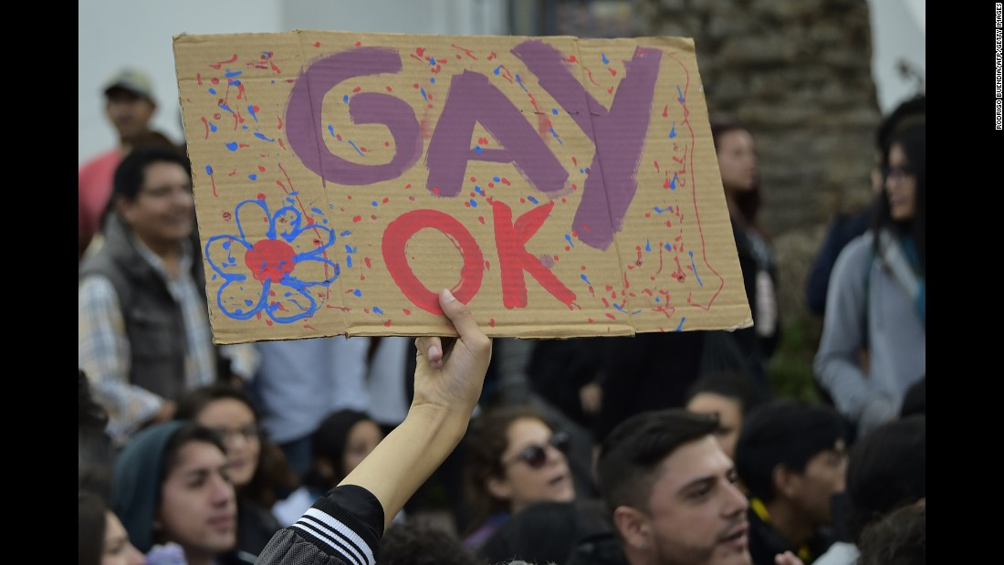 A person in Quito holds a sign during the 2016 parade. Ecuador's constitution prohibits same-sex couples from marrying and the law also prohibits same-sex couples from adopting. Same-sex couples can enter into a civil union.